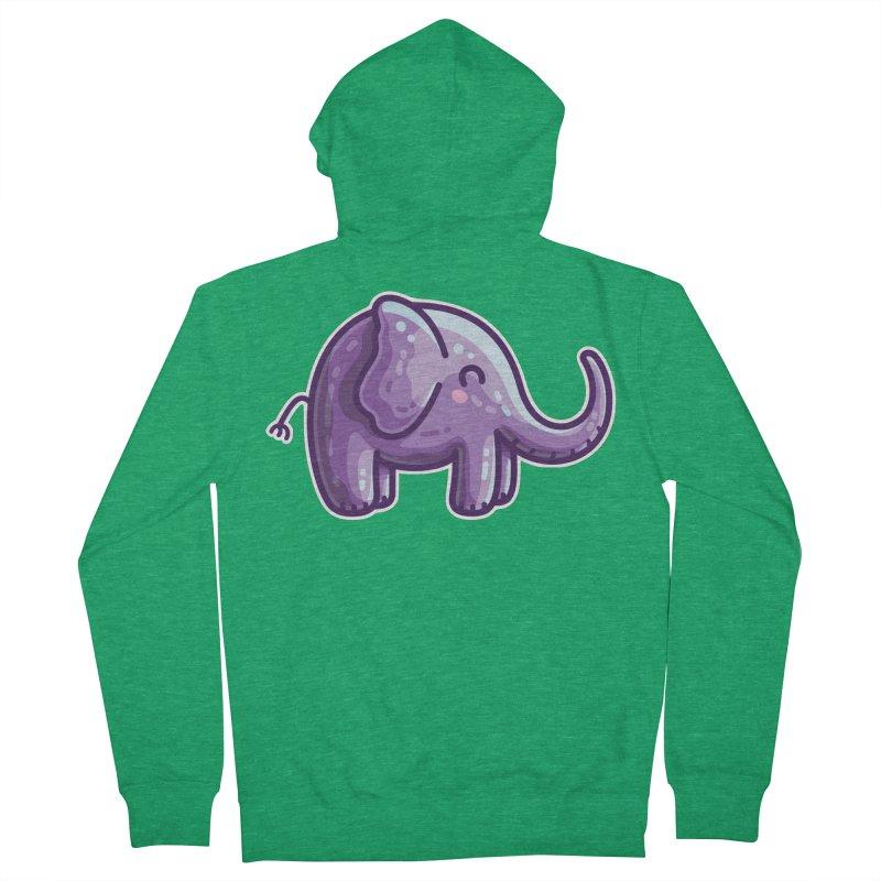 Kawaii Cute Purple Elephant Men's Zip-Up Hoody by Flaming Imp's Artist Shop