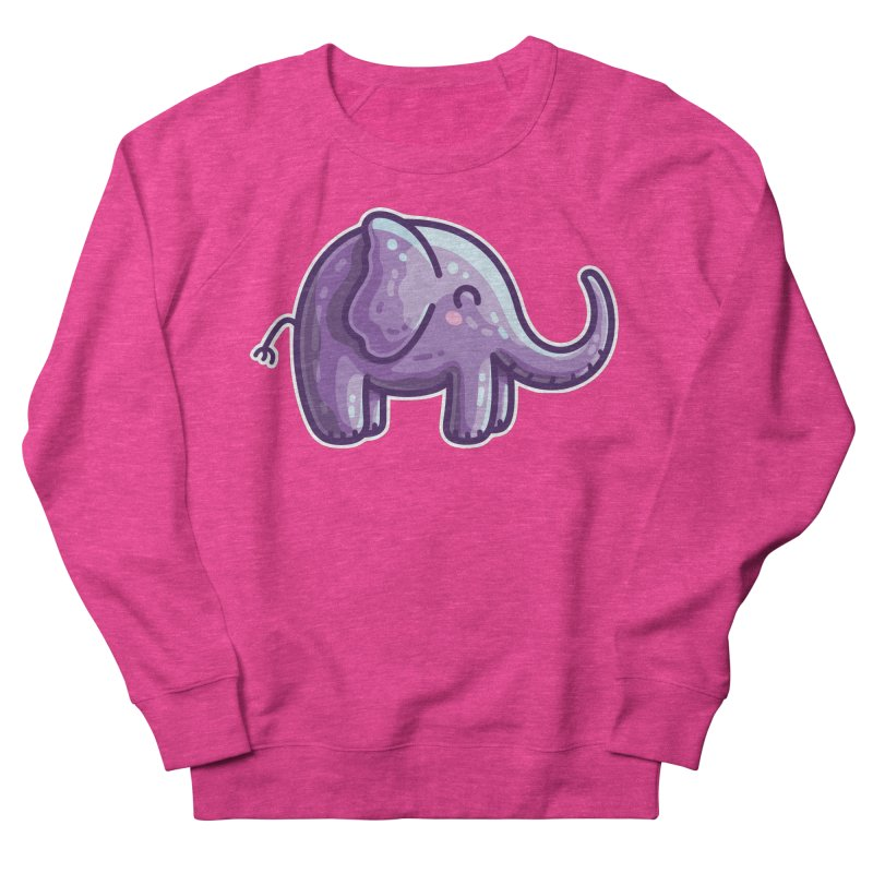 Kawaii Cute Purple Elephant Men's French Terry Sweatshirt by Flaming Imp's Artist Shop