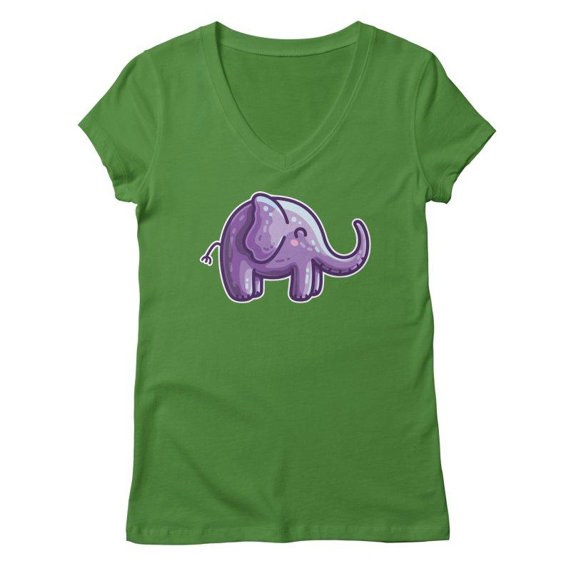 Kawaii Cute Purple Elephant Women's Regular V-Neck by Flaming Imp's Artist Shop