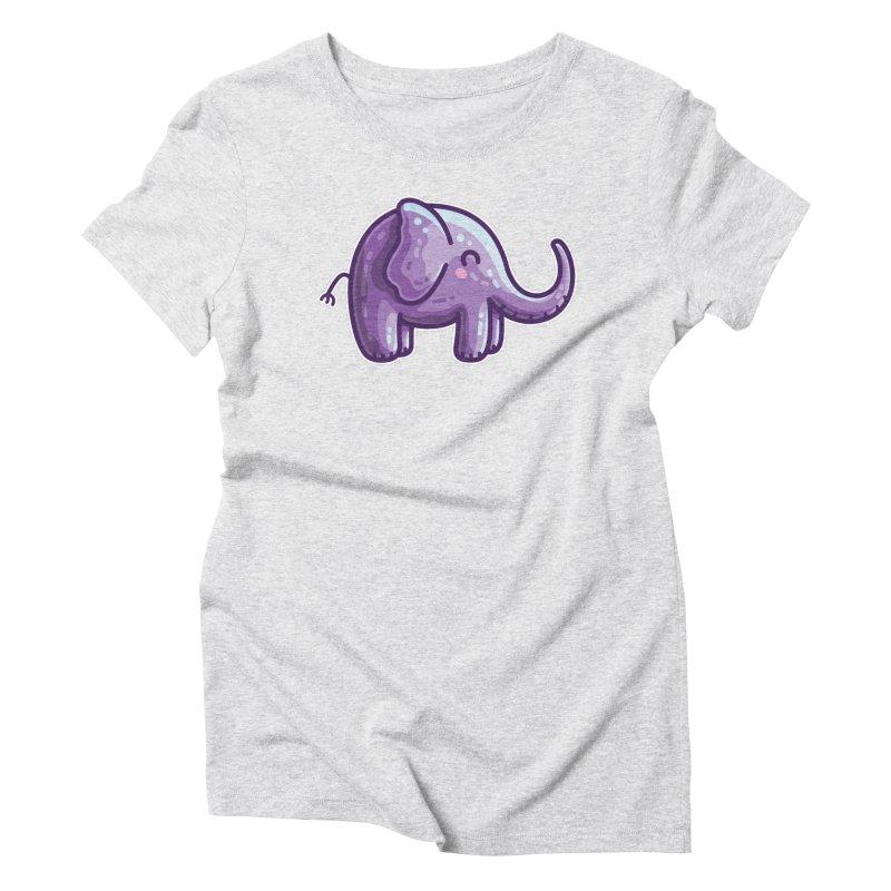 Kawaii Cute Purple Elephant Women's T-Shirt by Flaming Imp's Artist Shop