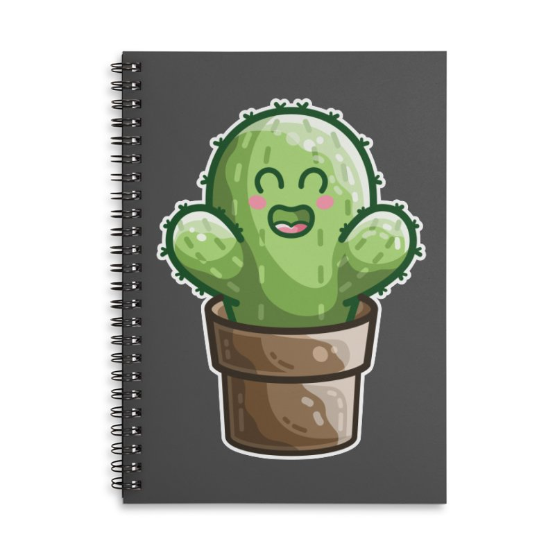 Cute Cactus In A Pot Accessories Notebook by Flaming Imp's Artist Shop
