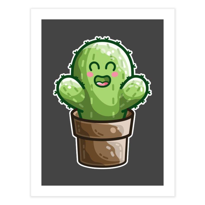 Cute Cactus In A Pot Home Fine Art Print by Flaming Imp's Artist Shop