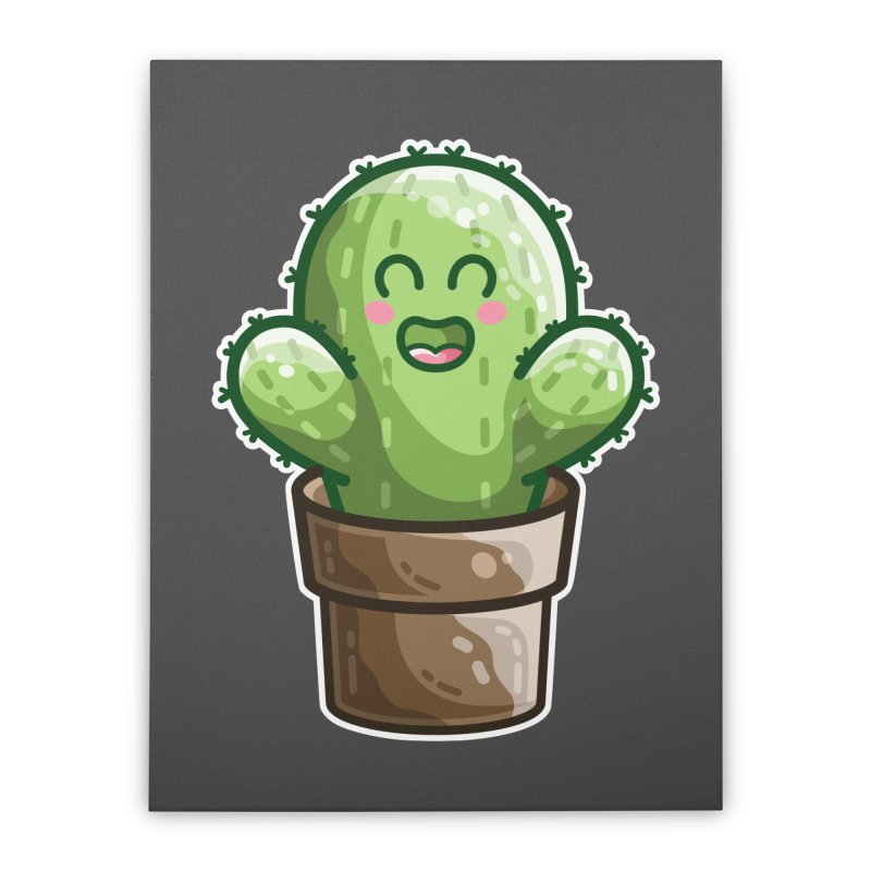 Cute Cactus In A Pot Home Stretched Canvas by Flaming Imp's Artist Shop