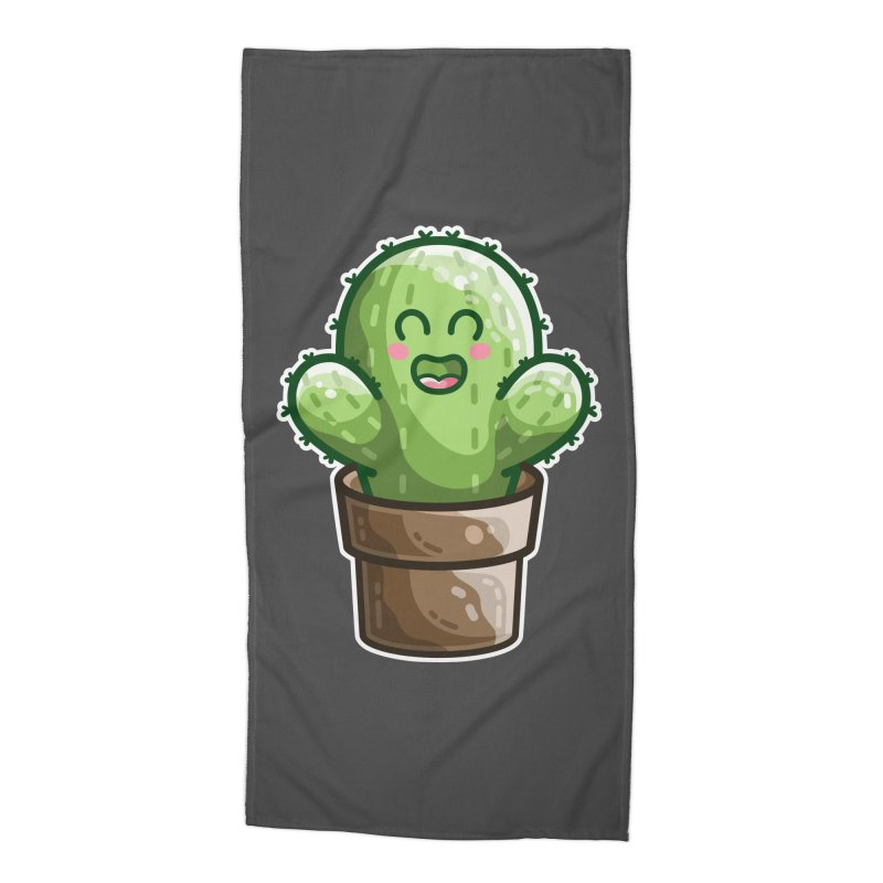 Cute Cactus In A Pot Accessories Beach Towel by Flaming Imp's Artist Shop