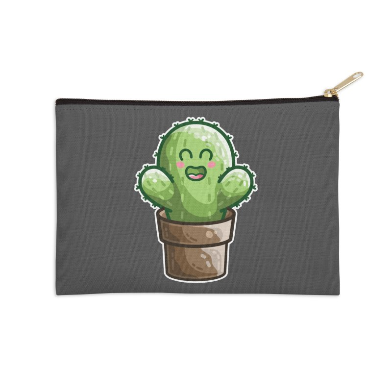 Cute Cactus In A Pot Accessories Zip Pouch by Flaming Imp's Artist Shop