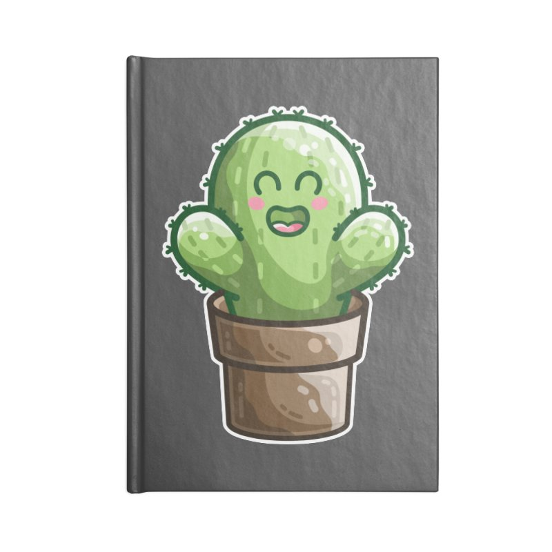Cute Cactus In A Pot Accessories Lined Journal Notebook by Flaming Imp's Artist Shop