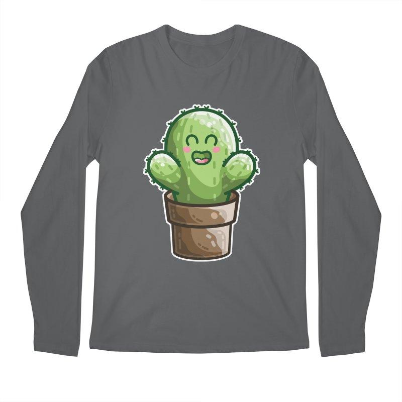 Cute Cactus In A Pot Men's Longsleeve T-Shirt by Flaming Imp's Artist Shop