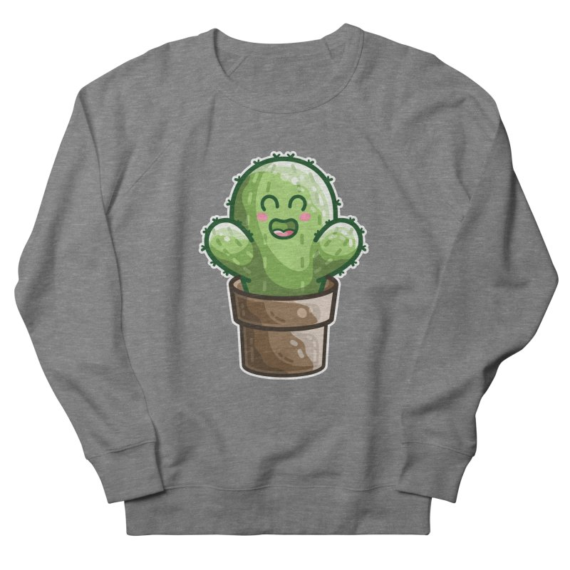 Cute Cactus In A Pot Men's French Terry Sweatshirt by Flaming Imp's Artist Shop