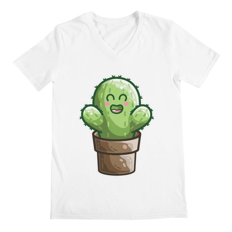 Cute Cactus In A Pot Men's V-Neck by Flaming Imp's Artist Shop