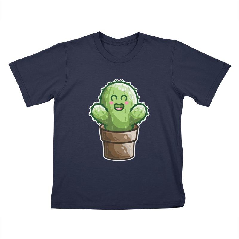 Cute Cactus In A Pot Kids T-Shirt by Flaming Imp's Artist Shop