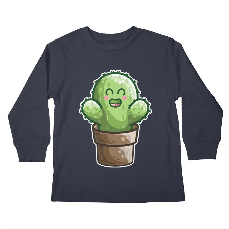 Cute Cactus In A Pot Kids Longsleeve T-Shirt by Flaming Imp's Artist Shop