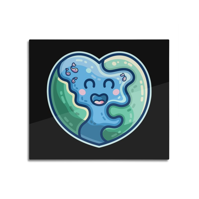 Earth Heart Kawaii Cute Home Mounted Aluminum Print by Flaming Imp's Artist Shop