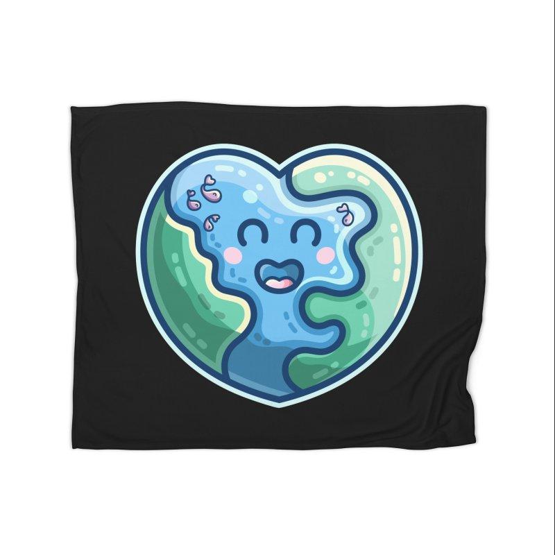 Earth Heart Kawaii Cute Home Blanket by Flaming Imp's Artist Shop