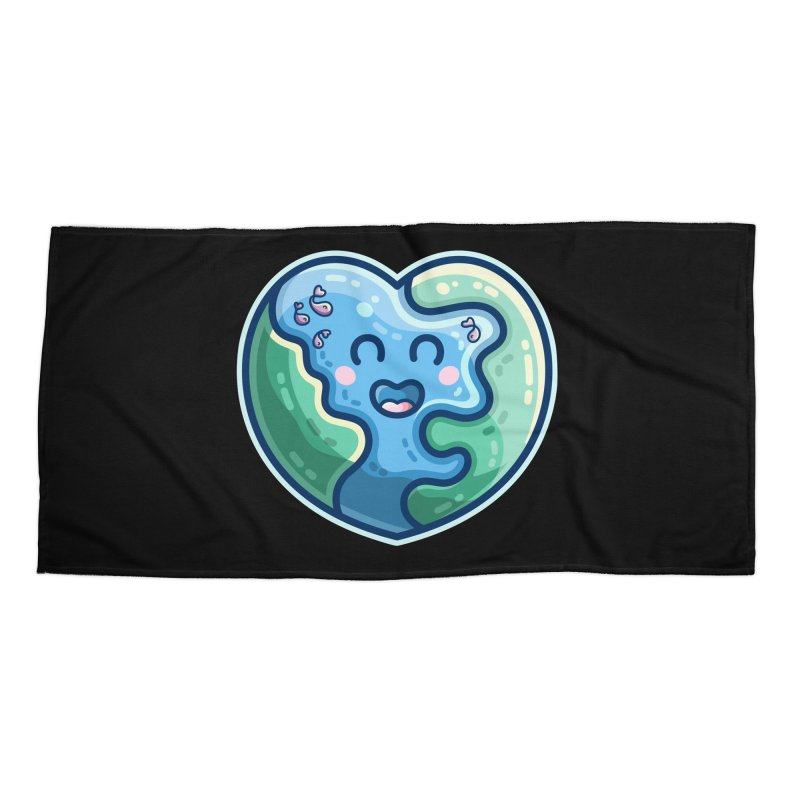 Earth Heart Kawaii Cute Accessories Beach Towel by Flaming Imp's Artist Shop