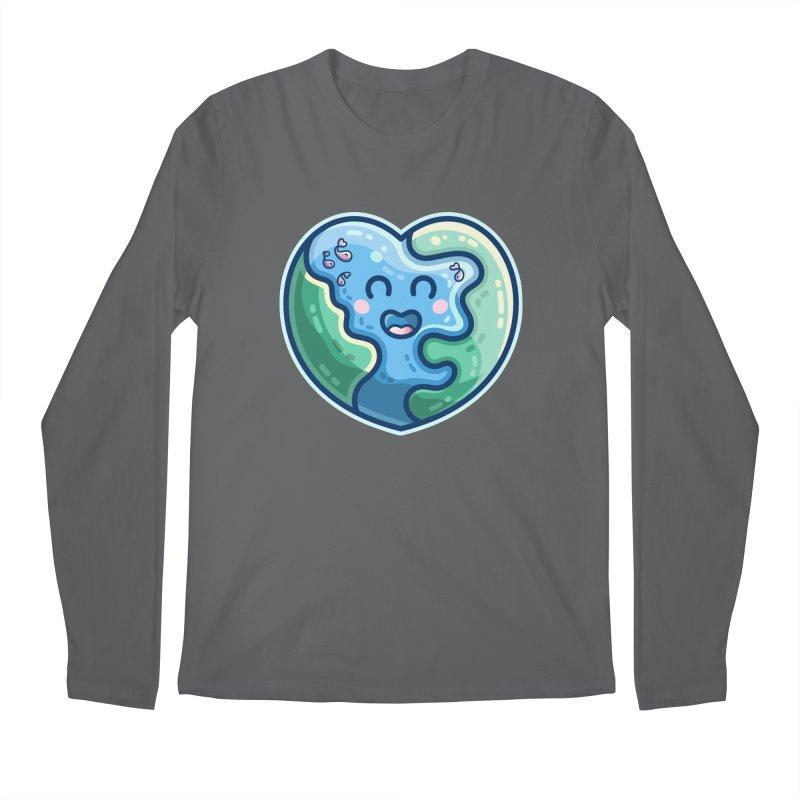 Earth Heart Kawaii Cute Men's Longsleeve T-Shirt by Flaming Imp's Artist Shop