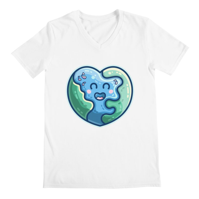 Earth Heart Kawaii Cute Men's V-Neck by Flaming Imp's Artist Shop