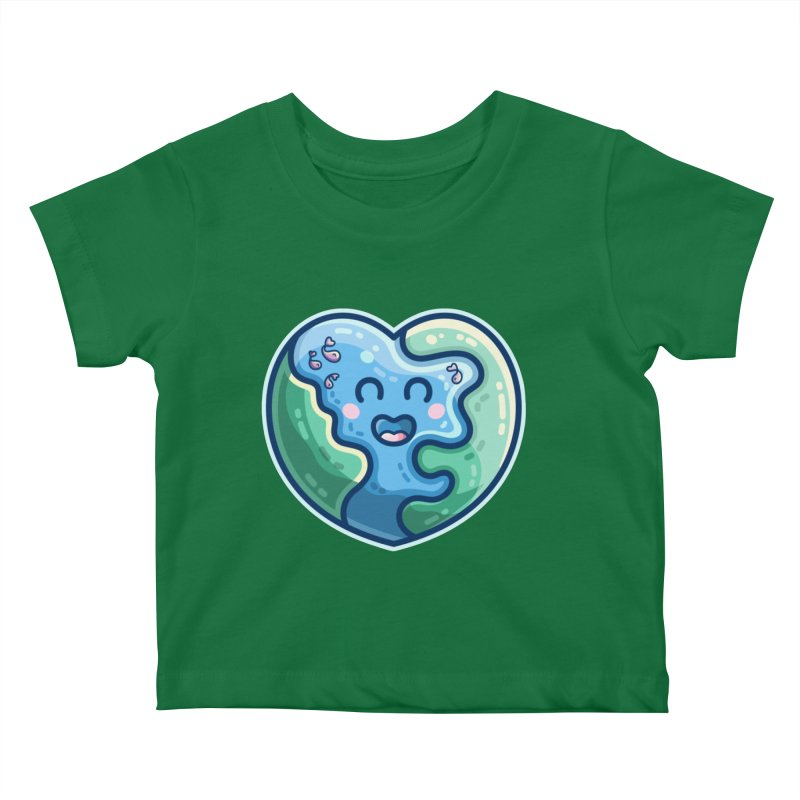 Earth Heart Kawaii Cute Kids Baby T-Shirt by Flaming Imp's Artist Shop