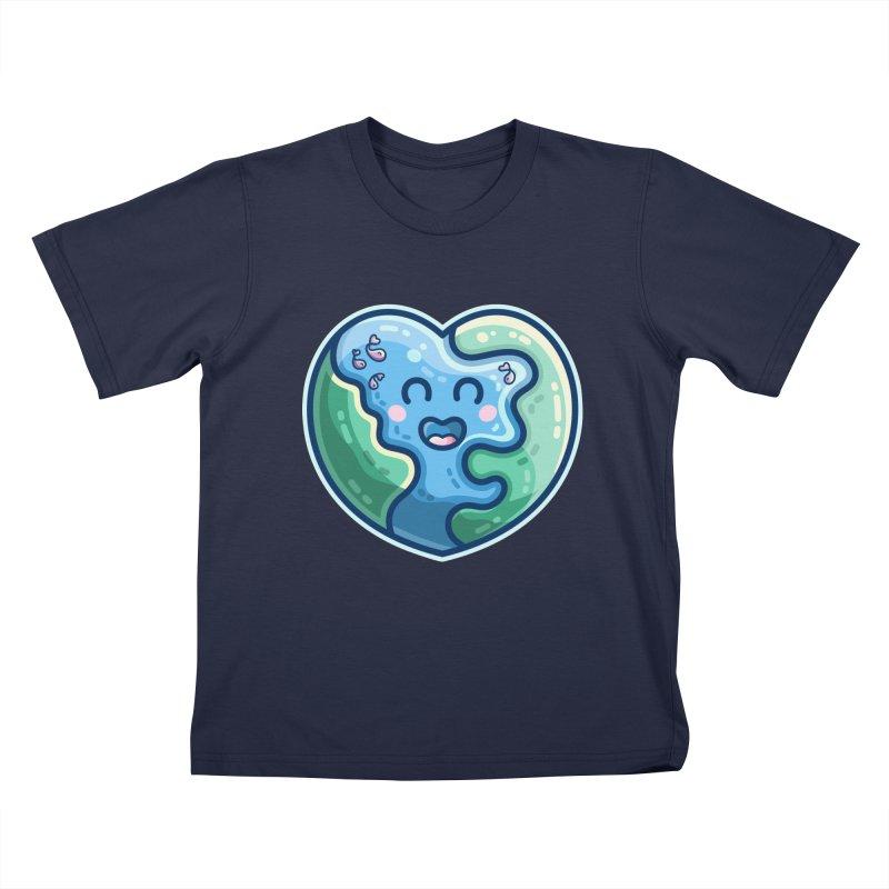 Earth Heart Kawaii Cute Kids T-Shirt by Flaming Imp's Artist Shop