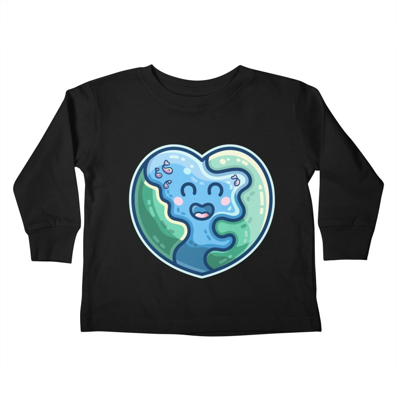 Earth Heart Kawaii Cute Kids Toddler Longsleeve T-Shirt by Flaming Imp's Artist Shop