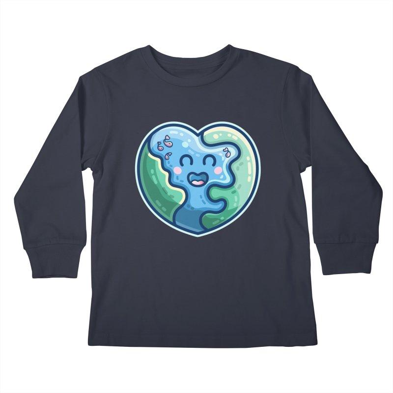 Earth Heart Kawaii Cute Kids Longsleeve T-Shirt by Flaming Imp's Artist Shop
