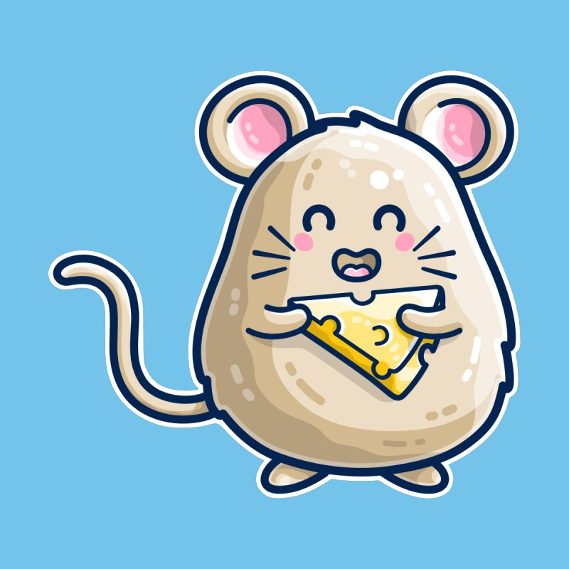 Mouse And Cheese Kawaii Cute Accessories Beach Towel by Flaming Imp's Artist Shop