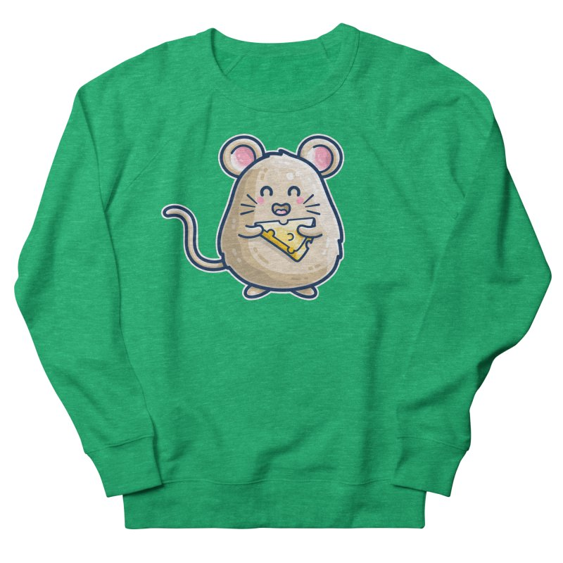 Mouse And Cheese Kawaii Cute Women's Sweatshirt by Flaming Imp's Artist Shop