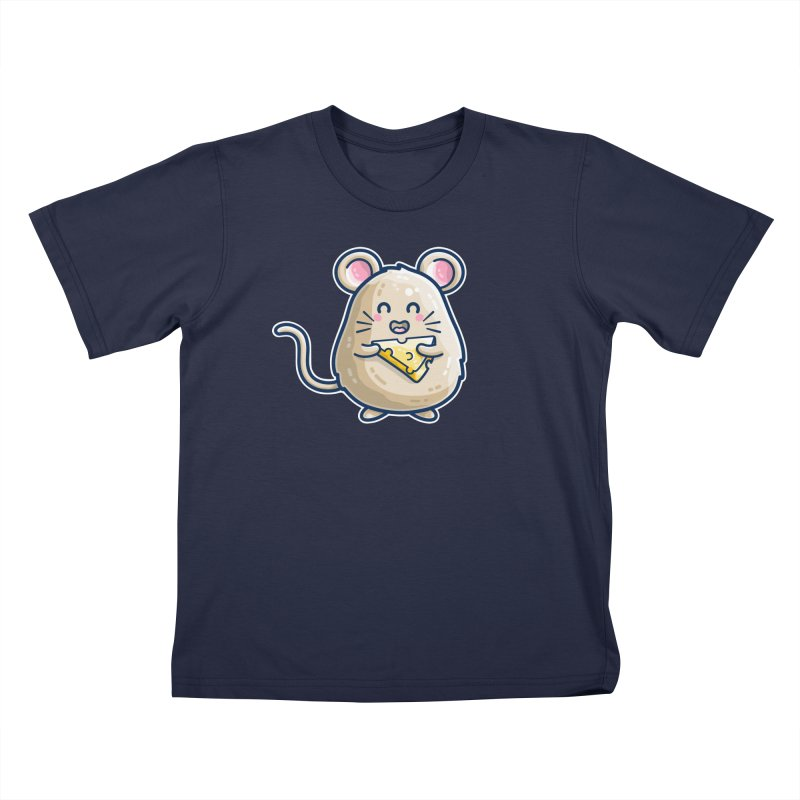 Mouse And Cheese Kawaii Cute Kids T-Shirt by Flaming Imp's Artist Shop