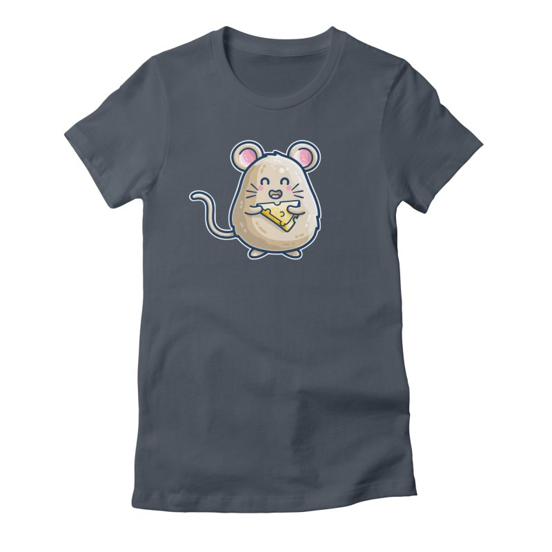 Mouse And Cheese Kawaii Cute Women's T-Shirt by Flaming Imp's Artist Shop