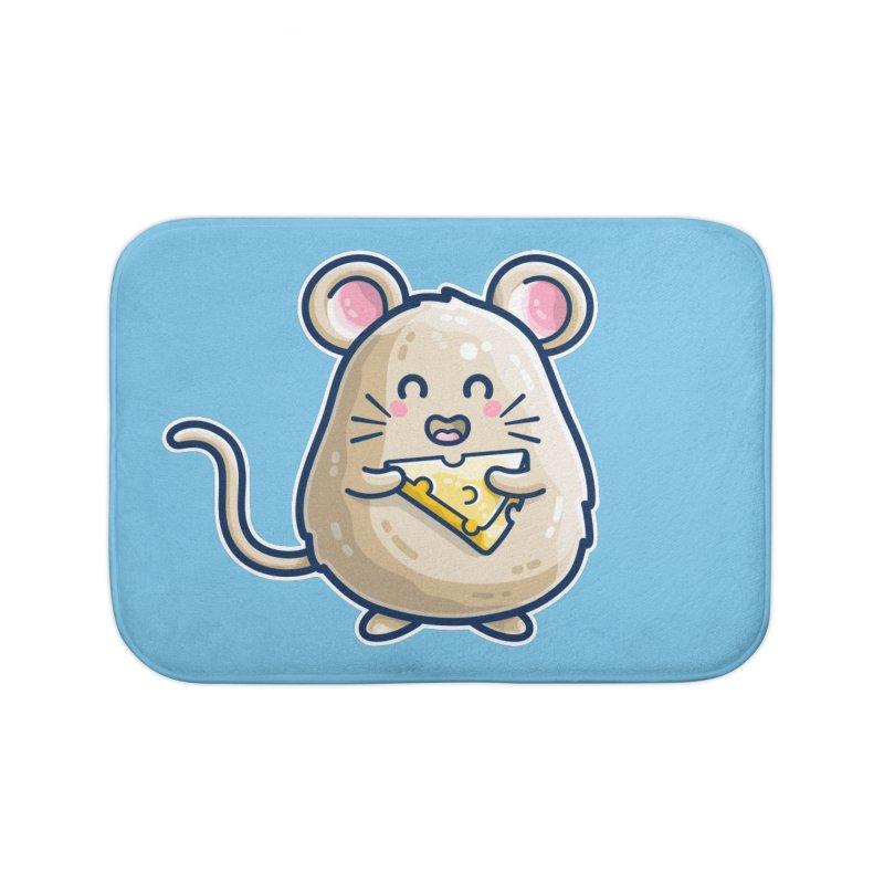 Mouse And Cheese Kawaii Cute Home Bath Mat by Flaming Imp's Artist Shop