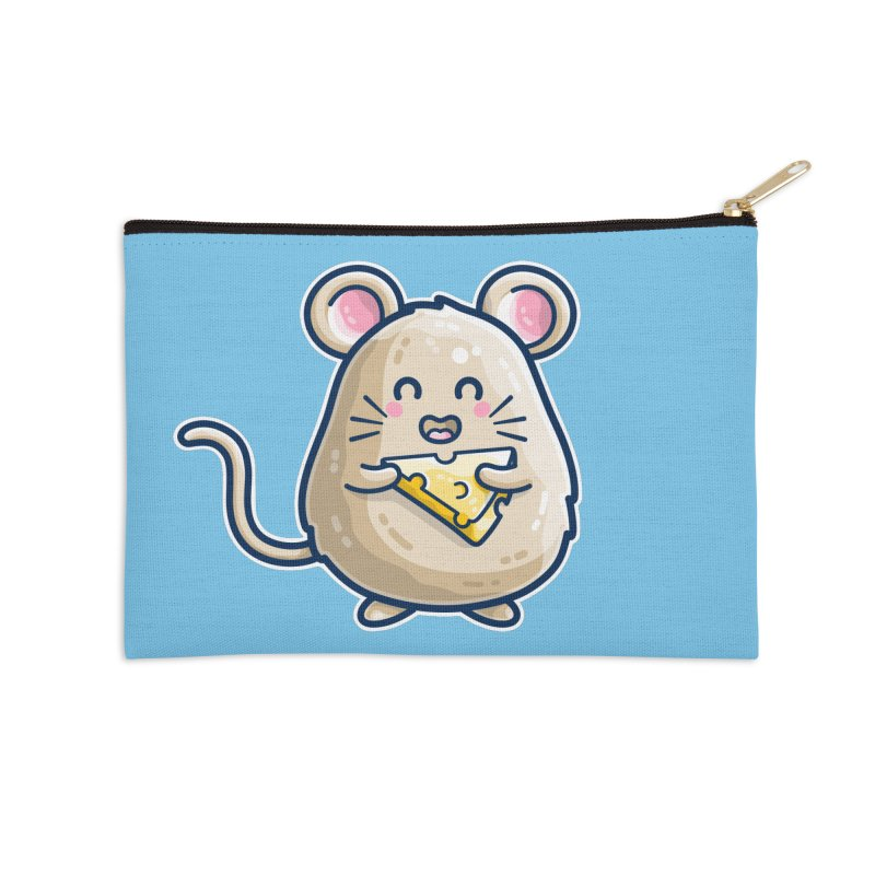 Mouse And Cheese Kawaii Cute Accessories Zip Pouch by Flaming Imp's Artist Shop