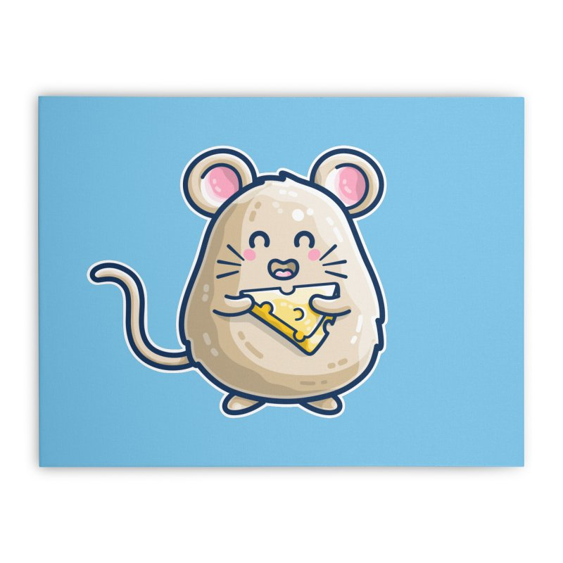Mouse And Cheese Kawaii Cute Home Stretched Canvas by Flaming Imp's Artist Shop