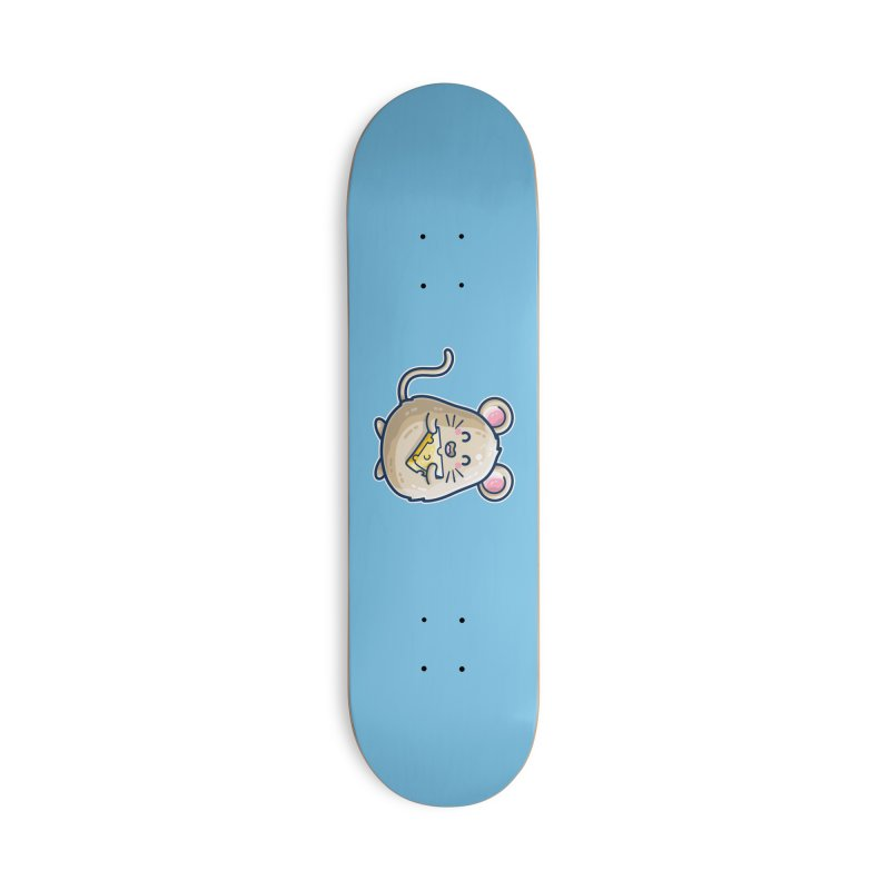 Mouse And Cheese Kawaii Cute Accessories Skateboard by Flaming Imp's Artist Shop