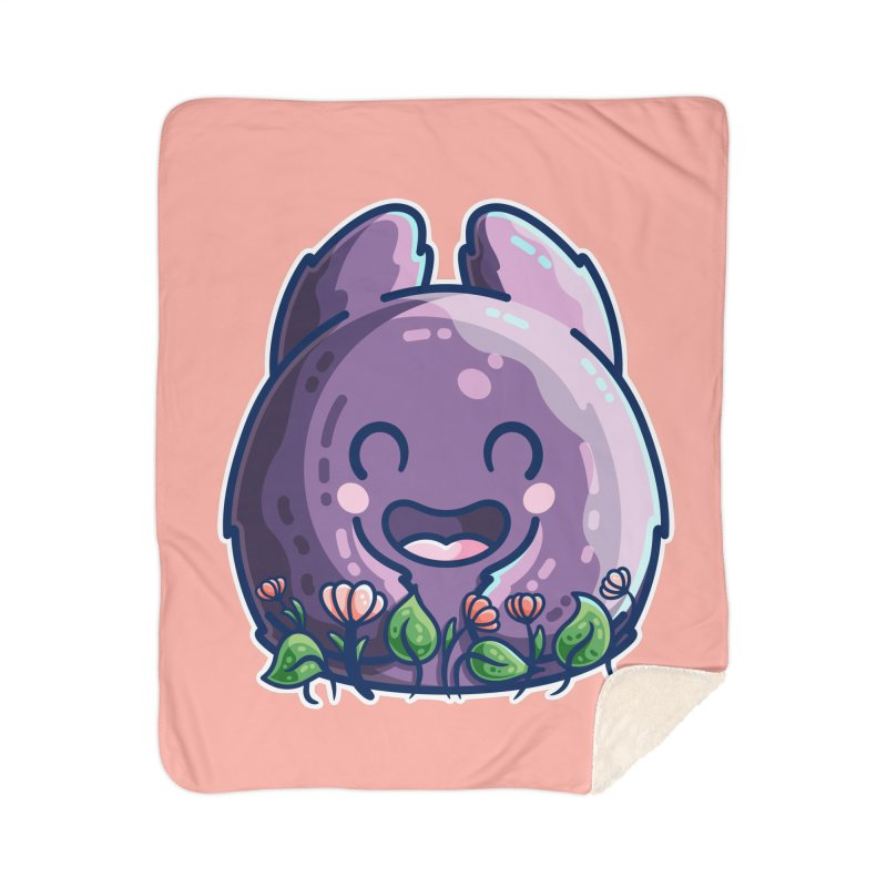 Cute Friendly Monster and Flowers Home Blanket by Flaming Imp's Artist Shop