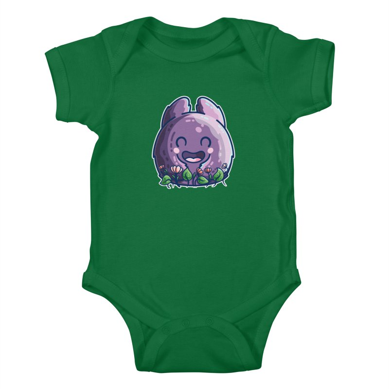 Cute Friendly Monster and Flowers Kids Baby Bodysuit by Flaming Imp's Artist Shop