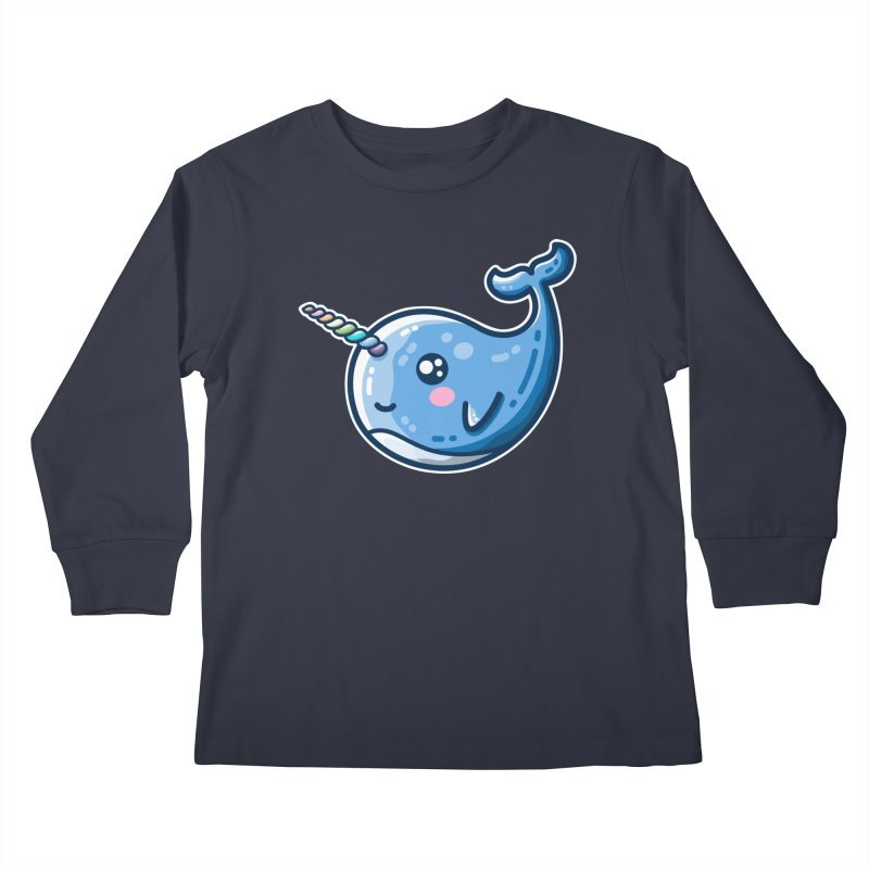 Narwhal With A Rainbow Horn Kids Longsleeve T-Shirt by Flaming Imp's Artist Shop