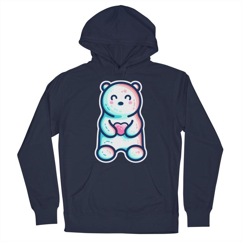 Cute Polar Bear Holding Heart Men's Pullover Hoody by Flaming Imp's Artist Shop