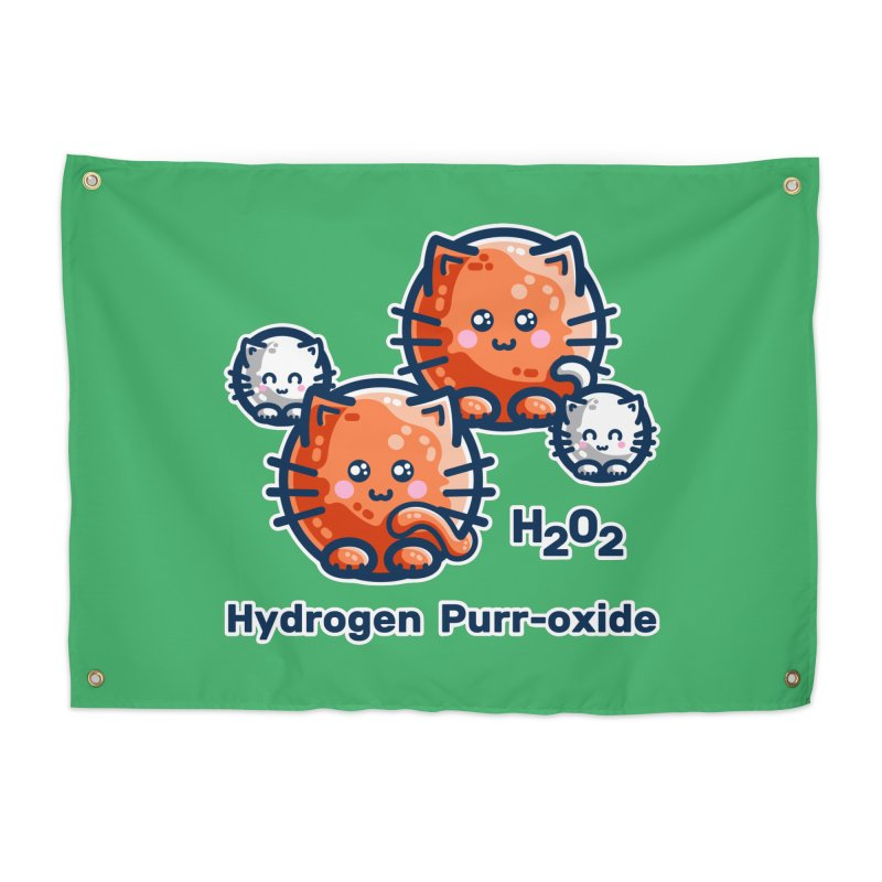 Hydrogen Purr-oxide Cat Chemistry Pun Home Tapestry by Flaming Imp's Artist Shop