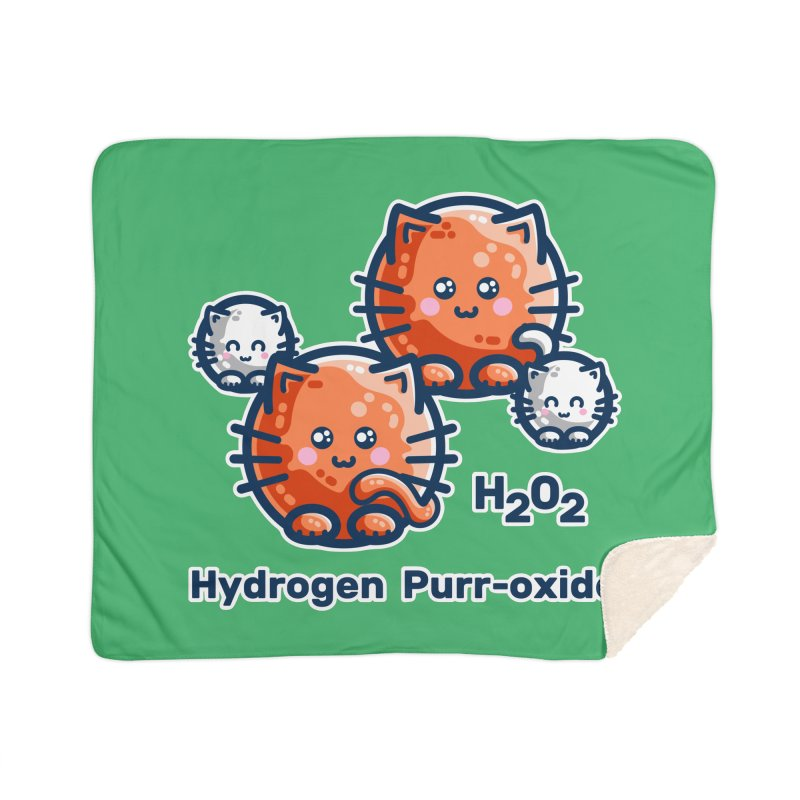Hydrogen Purr-oxide Cat Chemistry Pun Home Blanket by Flaming Imp's Artist Shop