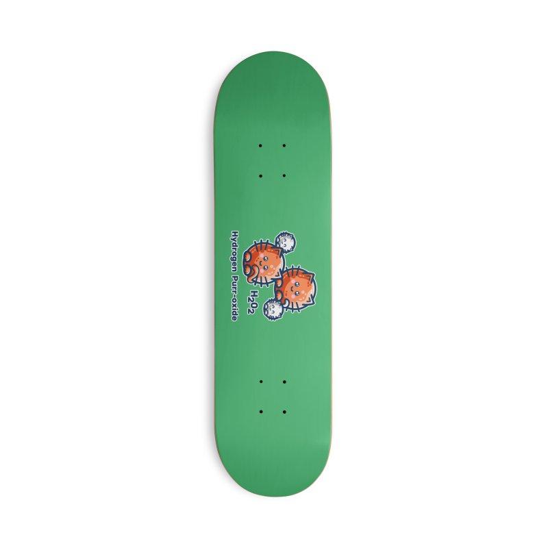 Hydrogen Purr-oxide Cat Chemistry Pun Accessories Skateboard by Flaming Imp's Artist Shop
