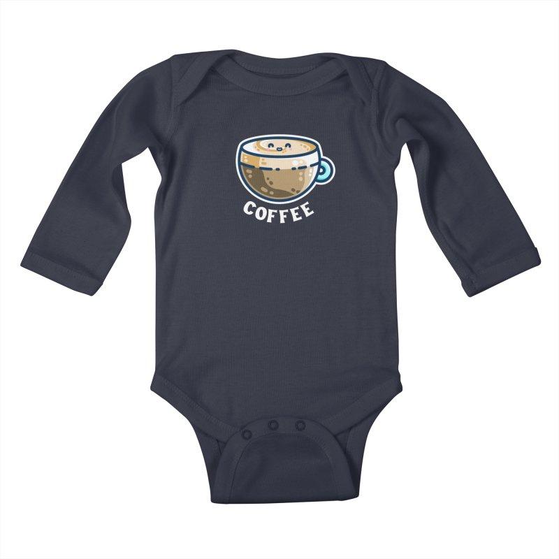 Creamy Latte Kawaii Cute Coffee Kids Baby Longsleeve Bodysuit by Flaming Imp's Artist Shop