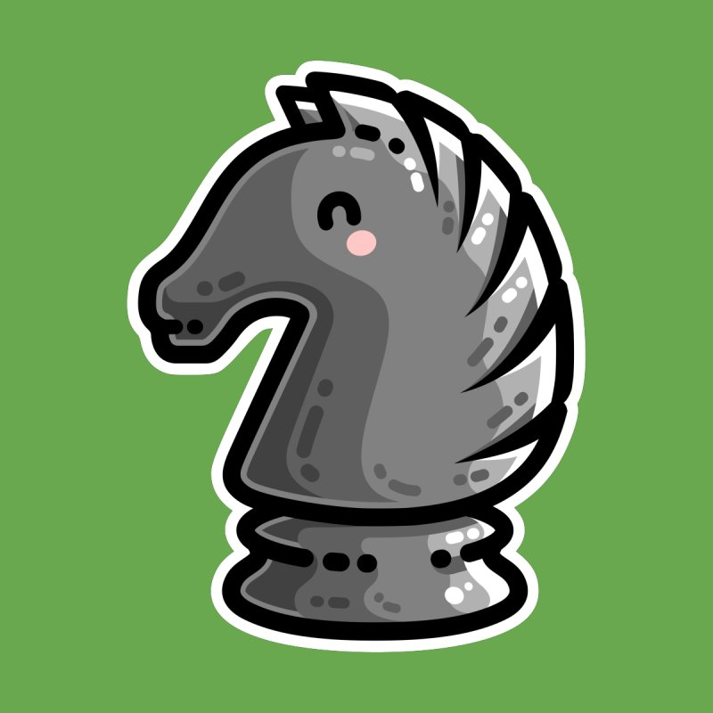 Cute Black Knight Chess Piece Accessories Face Mask by Flaming Imp's Artist Shop