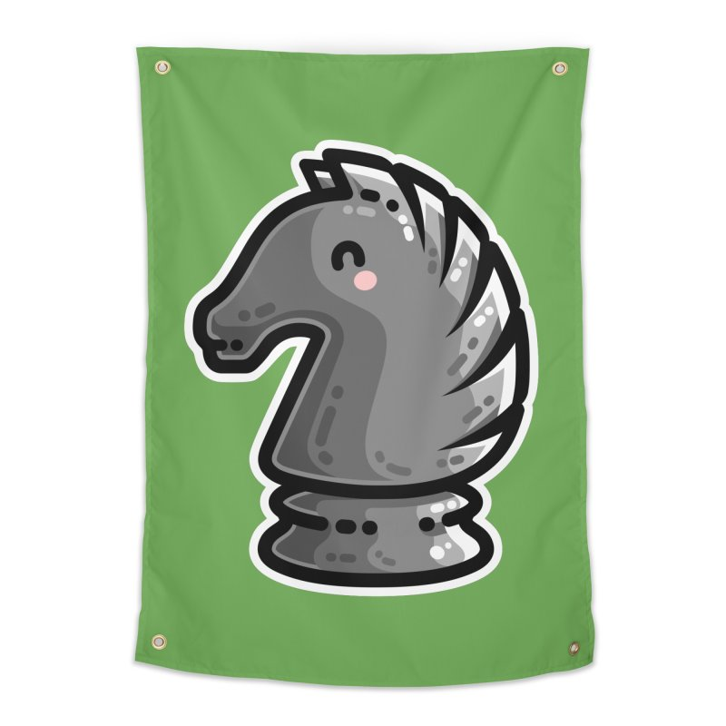 Cute Black Knight Chess Piece Home Tapestry by Flaming Imp's Artist Shop