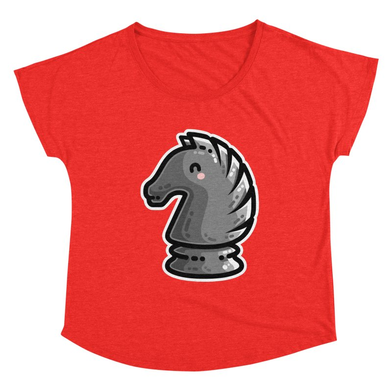 Cute Black Knight Chess Piece Fitted Scoop Neck by Flaming Imp's Artist Shop