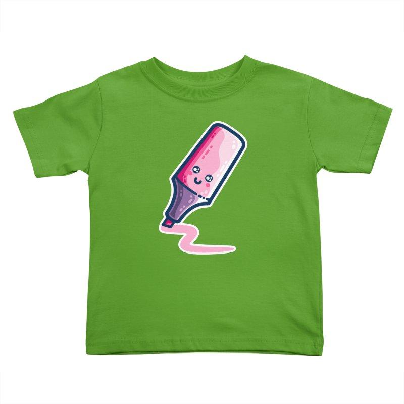 Pink Highlighter Pen Kawaii Cute Kids Toddler T-Shirt by Flaming Imp's Artist Shop