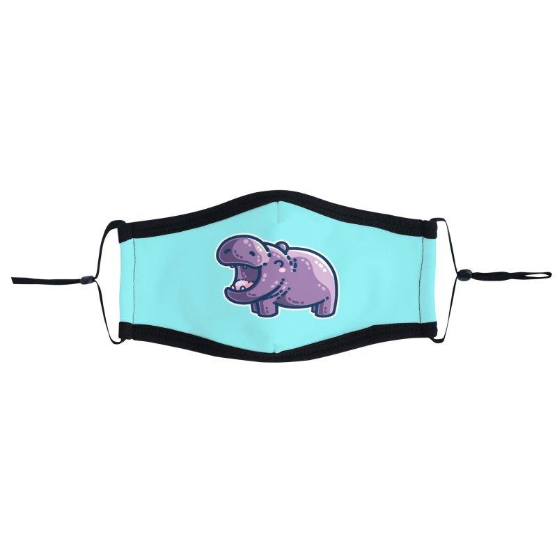 Purple Hippo Kawaii Cute Masks + Accessories Face Mask by Flaming Imp's Artist Shop