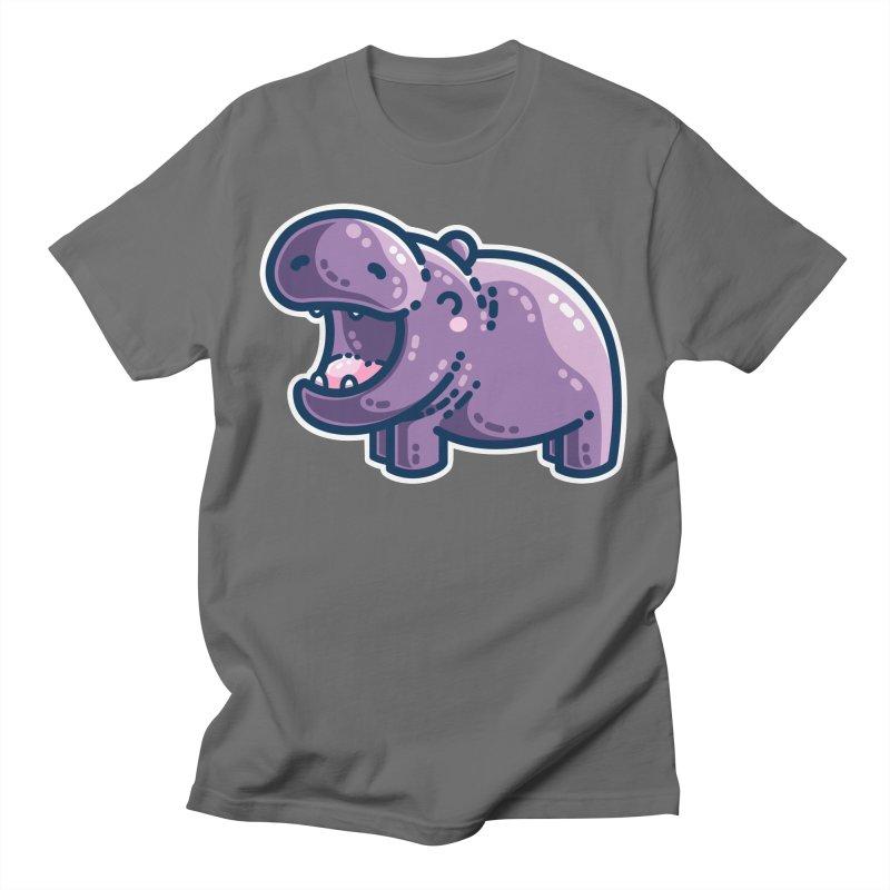 Purple Hippo Kawaii Cute Unisex T-Shirt by Flaming Imp's Artist Shop