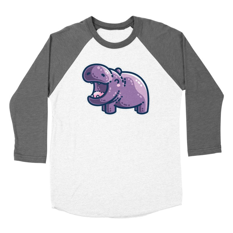 Purple Hippo Kawaii Cute Fitted Longsleeve T-Shirt by Flaming Imp's Artist Shop