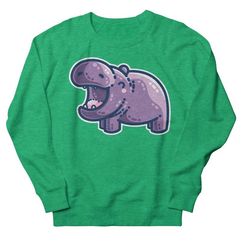 Purple Hippo Kawaii Cute Fitted Sweatshirt by Flaming Imp's Artist Shop