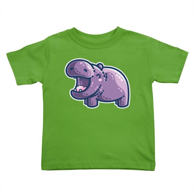 Purple Hippo Kawaii Cute Kids Toddler T-Shirt by Flaming Imp's Artist Shop