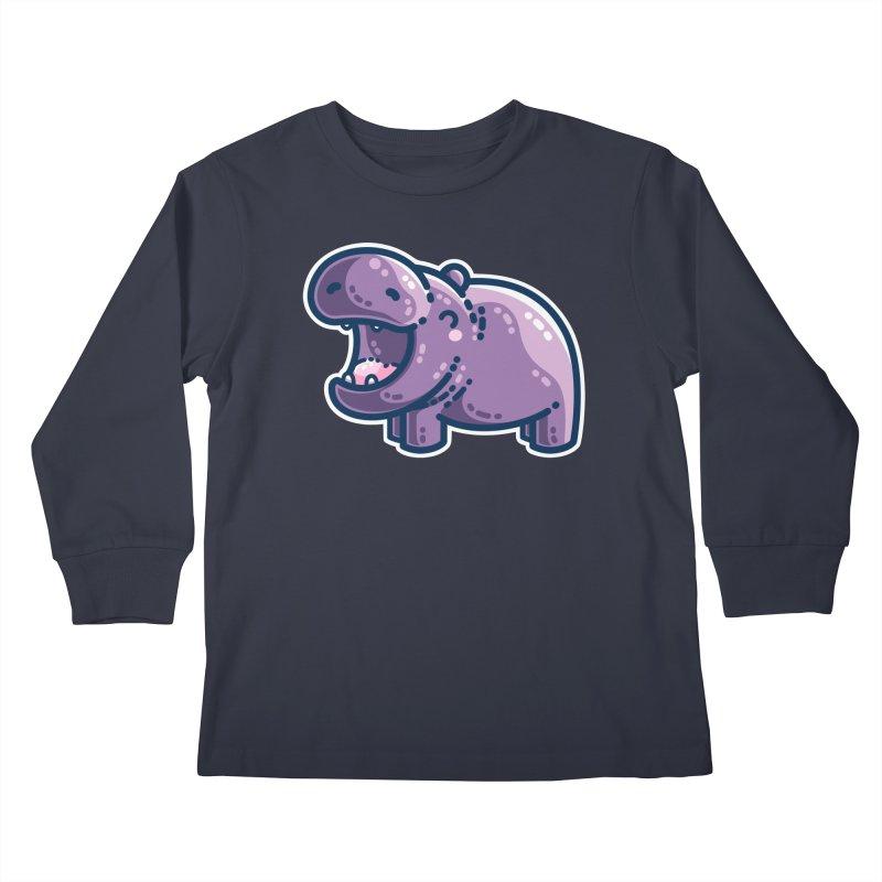 Purple Hippo Kawaii Cute Kids Longsleeve T-Shirt by Flaming Imp's Artist Shop
